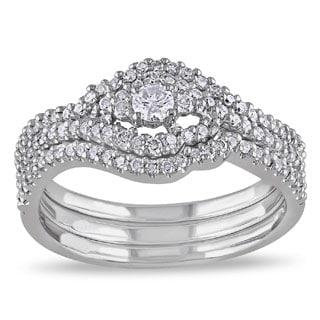Miadora 10k White Gold 1 2ct TDW Diamond Bridal Set