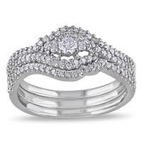 Miadora 10k White Gold 1/2ct TDW Diamond Bridal Set