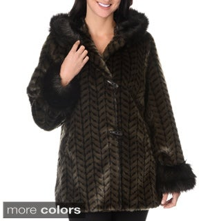 Women's Fax Fur Zig Zag Weave Short Coat
