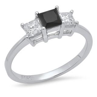Elora 14k White Gold 1ct TDW Princess-cut Black and White Diamond Ring (H-I, I1-I2)