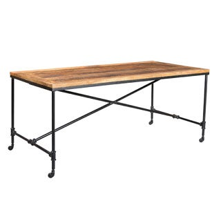 Timbergirl Handcrafted Reclaimed Wood and Metal Wheel Dining Table (India)