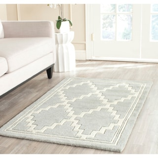 Safavieh Handmade Moroccan Chatham Geometric-pattern Gray/ Ivory Wool Rug (4' x 6')