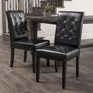 Roland Black Leather Dining Chairs (Set of 2) by Christopher Knight Home