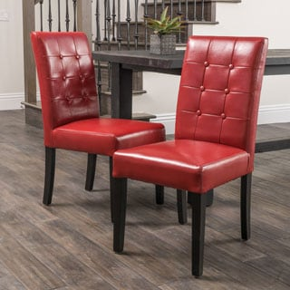 Roland Red Leather Dining Chairs (Set of 2) by Christopher Knight Home