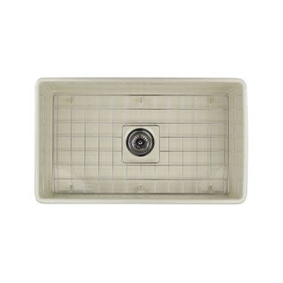 Highpoint Collection 30-inch Bisque Fireclay Farmhouse Kitchen Sink with Grid and Drain