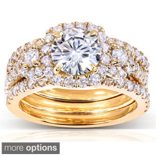 Annello by Kobelli 14k Gold Round Moissanite and 1 1/3 ct TDW Diamond 3-piece Bridal Ring Set