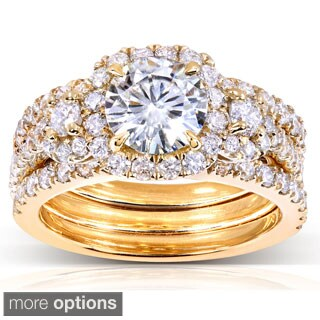 Annello by Kobelli 14k Gold 2 1/3ct TGW Moissanite and Diamond 3-piece Halo Bridal Rings Set