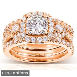 Annello by Kobelli 14k Gold 2 1/2ct TGW Cushion-cut Moissanite and Diamond Bridal Rings (3 Piece Set)