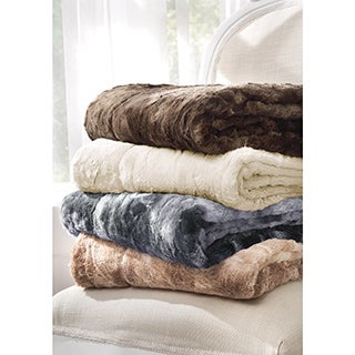 Brielle Faux Fur Reversible Throw Blanket with Free Gift Bag