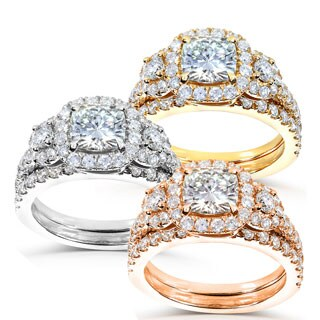 Annello by Kobelli 14k Gold Cushion-cut 2 1/6ct TGW Moissanite (HI) and Diamond Triple Halo Bridal Ring Set
