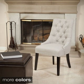 Katrina Tufted Linen Dining Chair by Christopher Knight Home