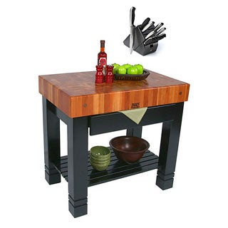John Boos RN-BF Cherry Bloc De Foyer 36x24x34 Table and Drawer with Henckels 13 Piece Knife Block Set