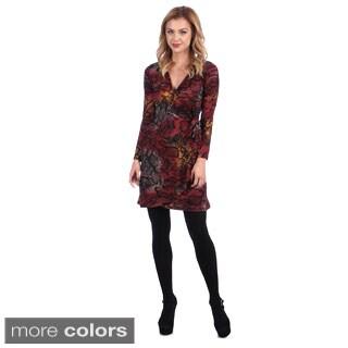 Amelia Women's Patterned Mock Wrap Dress