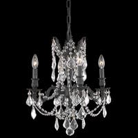Somette Zurich 4-light Royal Cut Crystal and Dark Bronze Chandelier