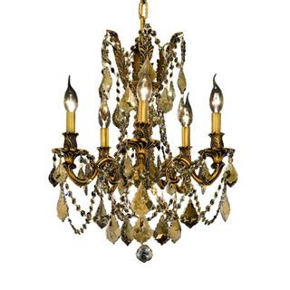 Somette Meilen 5-light Royal Cut Gold Crystal and French Gold Chandelier