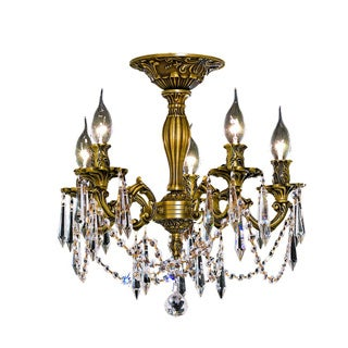 Somette Meilen 5-light Royal Cut Crystal and French Gold Flush Mount