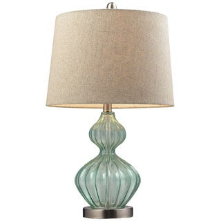 Smoked Glass 1-light Pale Green Table Lamp