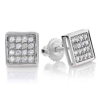 Luxurman 10k Gold 1/5ct TDW Square Diamond Stud Earrings (H-I, I1-I2)