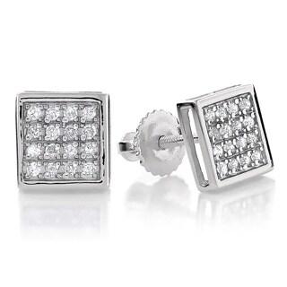 Luxurman 10k Gold 1/5ct TDW Square Diamond Stud Earrings - White