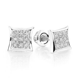 Luxurman 10k White Gold Diamond Accent Kite Stud Earrings