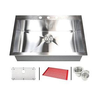 Stainless Steel 33-inch Single Bowl Topmount Drop-in Zero Radius Kitchen Sink with Combo Accessories