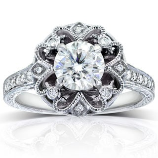 Annello 14k White Gold 1 1/5ct TGW Moissanite (HI) and Diamond Antique-style Floral Engagement Ring
