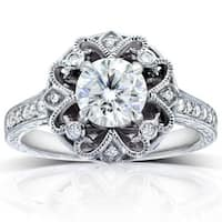 Annello by Kobelli 14k White Gold 1 1/5ct TGW Moissanite and Diamond Antique-style Floral Engagement Ring