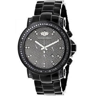 Luxurman Men's 3ct Black Diamond Oversized Watch Metal Band plus Extra Leather Straps