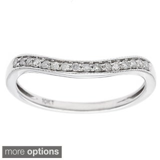 10k Gold 1/6ct Curved Pave Diamond Band