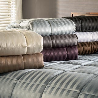 Superior All-Season Luxurious Striped Down Alternative Comforter