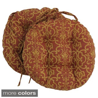 """Blazing Needles 16x16-inch Round Tufted Outdoor Chair Cushions (Set of 2) - 16"""""""