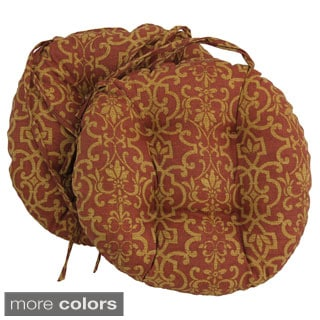 Blazing Needles 16x16 Inch Round Tufted Outdoor Chair Cushions (Set Of 2)