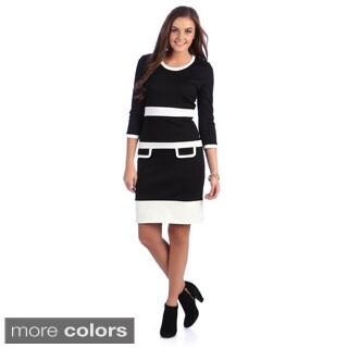 Amelia Women's Contrast Bands Scoop Neck Dress