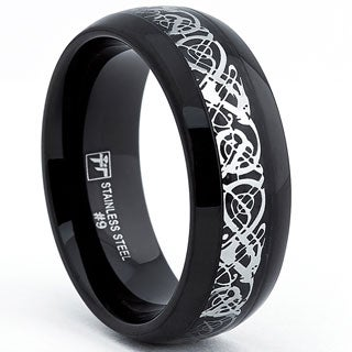 Oliveti Stainless Steel Men's Black Ring with Silver Dragon Inlay Design (8.mm)