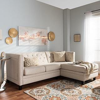 Baxton Studio Parkis Beige Linen Button-tufted Sectional Sofa