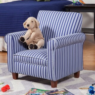 HomePop Juvenile Blue Striped Club Chair