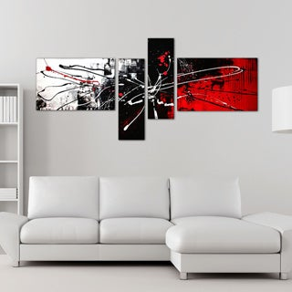 'Abstract Red Black & White' 4-piece Hand Painted Canvas Art