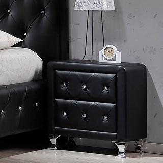Porch & Den Victoria Park Karen Crystal Tufted Black Upholstered Nightstand