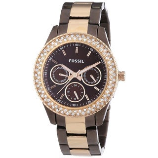 Fossil Women's 'Stella' Two-Tone Brown Dial Stainless Steel Watch