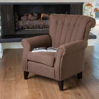 Waldorf Channel Chocolate Fabric Club Chair by Christopher Knight Home