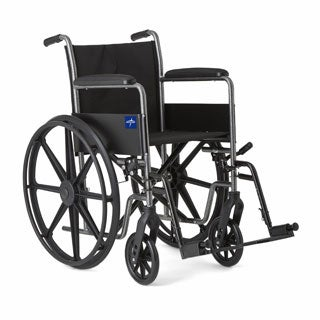 Medline Excel K1 Basic Wheelchair with 18-inch Wide x 16-inch Deep Seat, Full Length Permanent Arms and Detachable Footrests