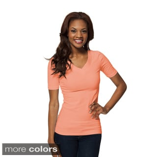 Modbod Women's Basic Half-sleeve Double V Tee