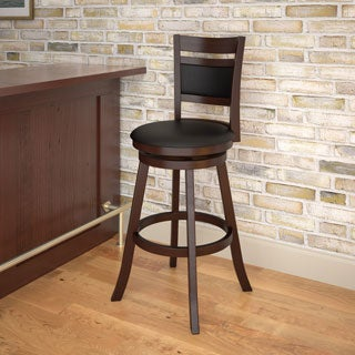 CorLiving Espresso and Black Leatherette Bar Height Barstool