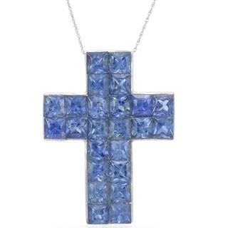 14k White Gold 1 7/8 TGW Sapphire Cross Pendant Necklace