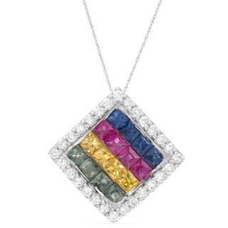 14k White Gold Sapphire and Diamond Accent Pendant Necklace