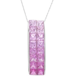 14k White Gold Pink Sapphire Graduated Pendant Necklace