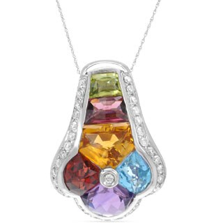 14k White Gold Multi-gemstone Round Diamond Accent Pendant Necklace