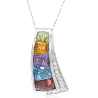 14k White Gold Multi Semi-precious Gemstone and Round White Diamond Accents Pendant