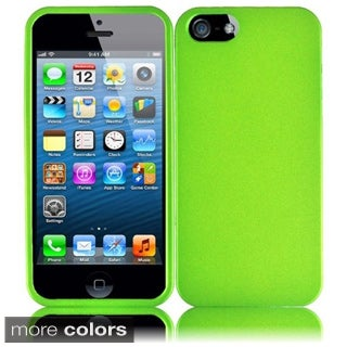 INSTEN Green Rubberized Hard Plastic PC Snap-on Phone Case Cover for Apple iPhone 5 / 5S / SE