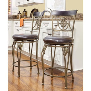 Linon Lily Flower Counter Stool, Distressed Brown PVC
